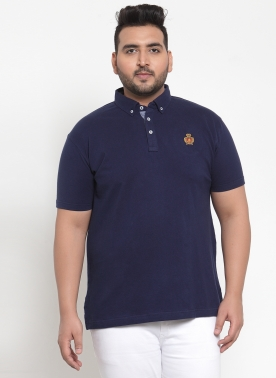 Men Navy Blue Solid Polo Collar T-shirt
