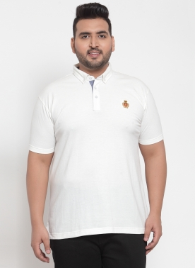 Men White Solid Polo Collar T-shirt