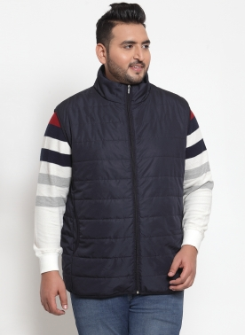Men Navy Solid Quilted Jacket