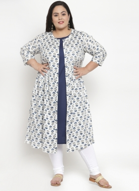 Women Navy & White Striped A-Line Layered Kurta