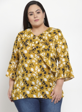 Women Mustard Yellow & Navy Printed  Top