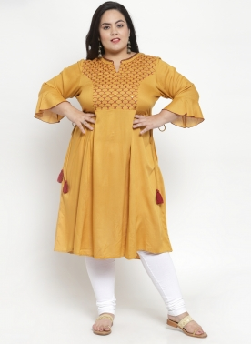 Women Mustard & Red Printed Straight Kurta