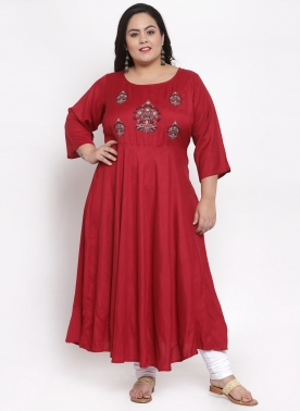 Women Red Embroidered Fit & Flare Dress
