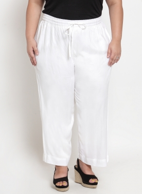Women Off-White Solid Straight Palazzos