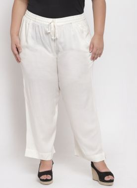Women White Solid Straight Palazzos