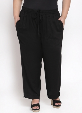 Women Black Solid Straight Palazzos