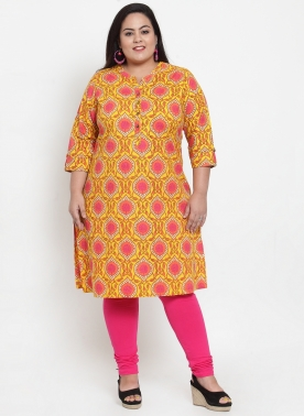 Women Yellow & Pink Printed Straight Kurta