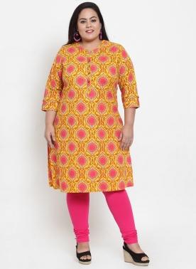 Women Yellow & Pink Printed Straight Kurta