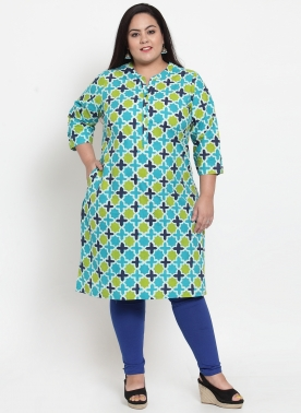 Women Multicoloured & Navy Blue Printed Straight Kurta