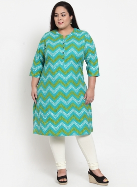 Women Turquoise Blue & Green Striped Straight Kurta