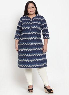 Women Navy Blue & Off-White Printed Straight Kurta