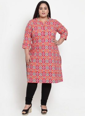 Women Pink & Orange Printed Straight Kurta
