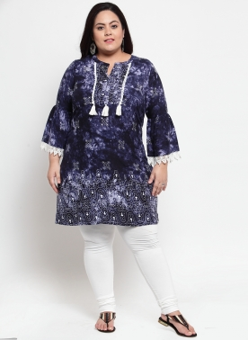 Women Blue Printed Tunic