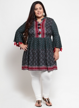 Women Green & Red Printed Tunic