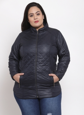 Women Navy Solid Quilted Jacket