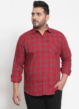 Men Red & Black Regular Fit Checked Casual Shirt