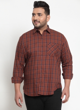 Men Rust Red & Brown Regular Fit Checked Casual Shirt