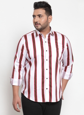 Men White & Red Regular Fit Checked Casual Shirt