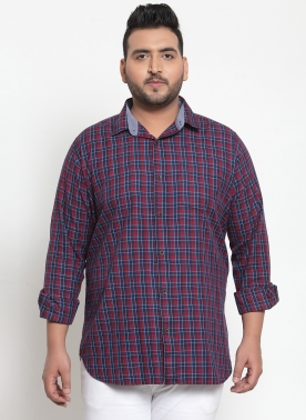 Men Navy Blue & Yellow Regular Fit Checked Casual Shirt