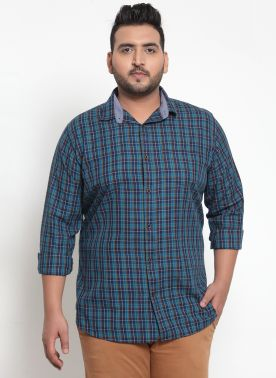 Men Blue & Red Regular Fit Checked Casual Shirt