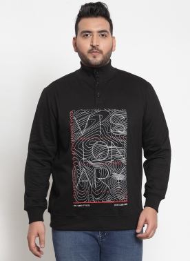 Men Black & White Printed Sweatshirt