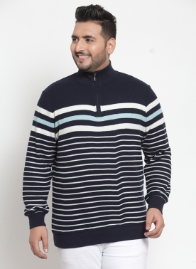 Men Navy Blue & White Striped Sweatshirt