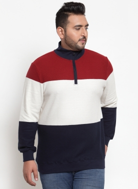 Men Maroon & White Colourblocked Sweatshirt