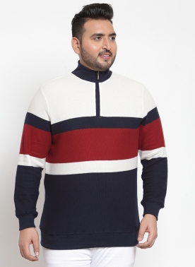 Men White & Navy Blue Colourblocked Sweatshirt