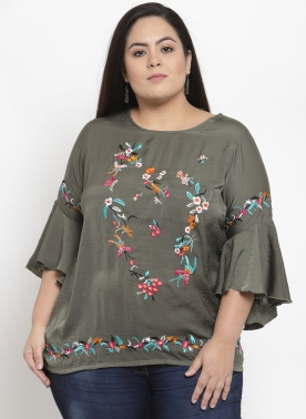 Women Olive Green Embroidered Longline Top