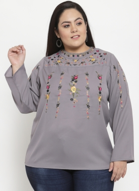 Women Grey Embroidered Longline A-Line Top