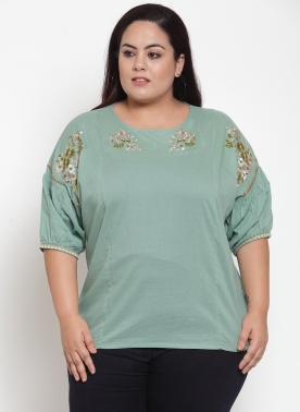 Women Olive Green Solid A-Line Top