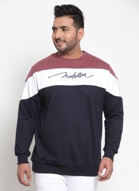 Men Navy Blue & White Colourblocked Sweatshirt