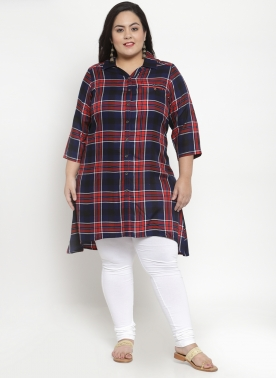 Red Checked Floral Tunic