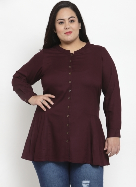 Women Burgundy Solid Longline Top