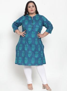 Women Turquoise Blue & Green Printed Straight Kurta