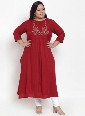 Women Maroon & Green Embroidered Straight Kurta