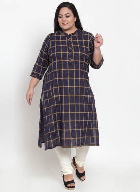 Women Navy Blue Checked A-Line Kurta