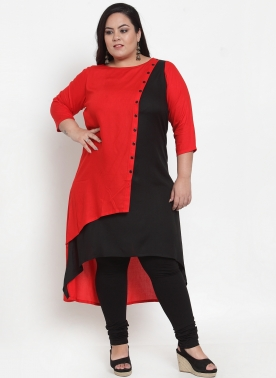 Women Red & Black Solid Straight Kurta