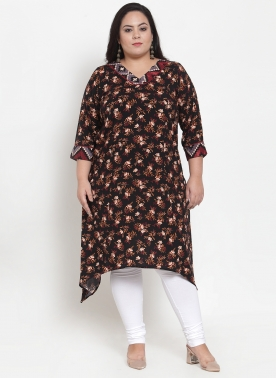 Women Black Printed A-Line Kurta