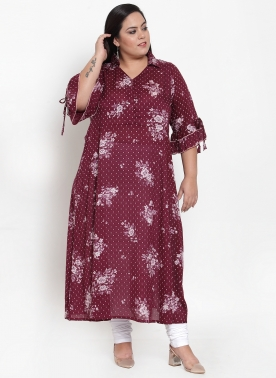 Women Brown Printed Straight Kurta