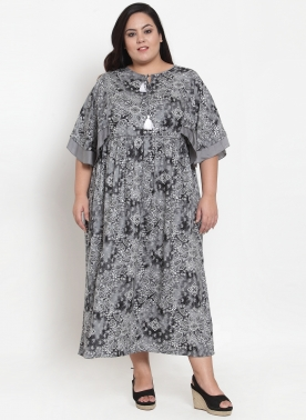 Women Grey Printed Shirt Dress