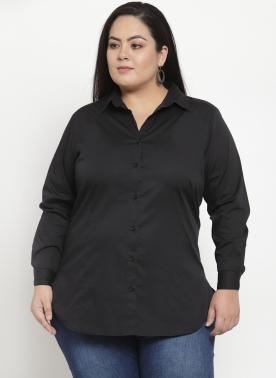 Women Black Solid Regular Fit Casual Shirt