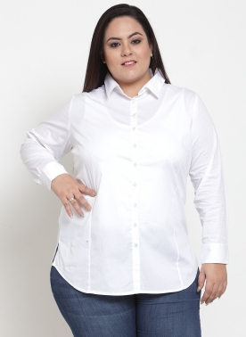 Women White Solid Regular Fit Casual Shirt