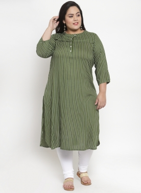 Women Olive Green Striped Straight Kurta