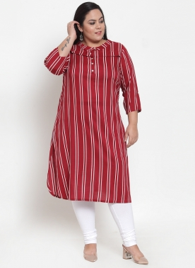 Women Maroon Striped Straight Kurta