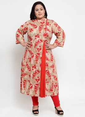 Women Beige & Red Printed A-Line Kurta