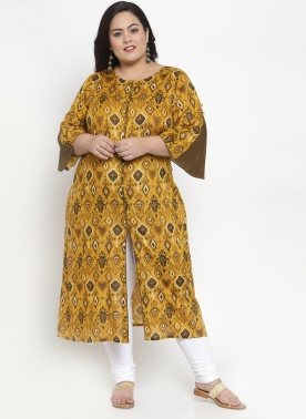Women Mustard Printed Straight Kurta