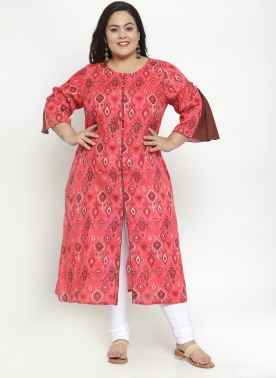 Women Red & Pink Printed A-Line Kurta