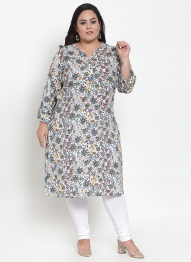 Women White & Black Printed Straight Kurta