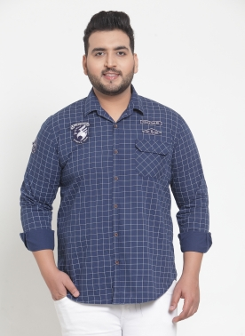 Men Blue & White Regular Fit Checked Casual Shirt